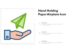 Hand Holding Paper Airplane Icon