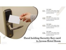 Hand Holding Security Key Card To Access Hotel Room