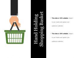 Hand Holding Shopping Basket Ppt Examples Slides