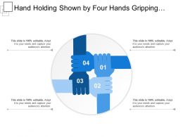 Hand Holding Shown By Four Hands Gripping Each Other