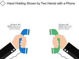 Hand Holding Shown By Two Hands With A Phone