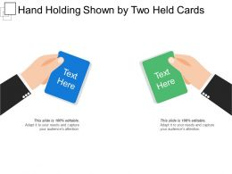 Hand Holding Shown By Two Held Cards