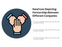 Hand Icon Depicting Partnerships Between Different Companies