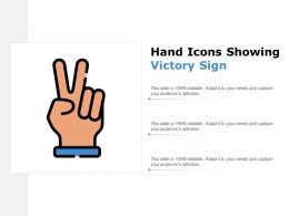 Hand Icons Showing Victory Sign