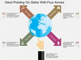 Hand Pointing On Globe With Four Arrows Flat Powerpoint Design