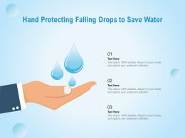 Hand Protecting Falling Drops To Save Water