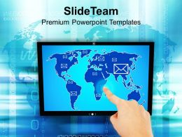 Hand Pushing Button On A Touch Tablet Powerpoint Templates PPT Themes And Graphics 0113