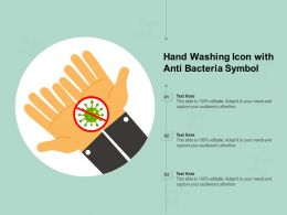 Hand Washing Icon With Anti Bacteria Symbol
