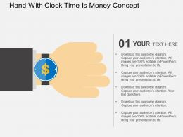 Hand With Clock Time Is Money Concept Flat Powerpoint Design