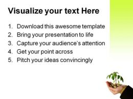Hand With Money Plant Business PowerPoint Background And Template 1210