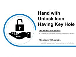 Hand With Unlock Icon Having Key Hole