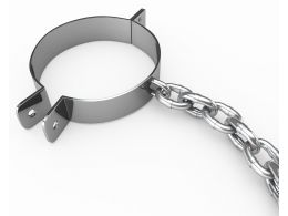 Handcuffs With Chain Stock Photo