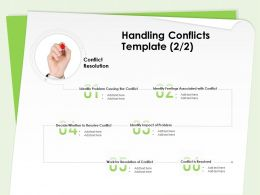 Handling Conflicts Template Resolution Of Conflict Ppt Powerpoint Presentation Deck
