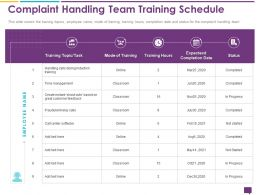 Handling Customer Queries Complaint Handling Team Training Schedule Time Ppt Icons