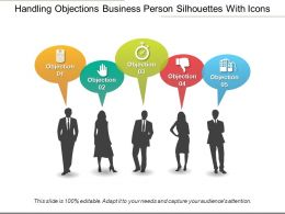 Handling Objections Business Person Silhouettes With Icons