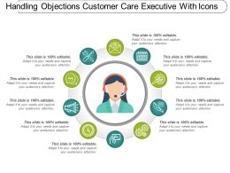 Handling Objections Customer Care Executive With Icons
