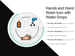 Hands And Hand Wash Icon With Water Drops