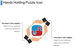 Hands Holding Puzzle Icon PPT Sample Presentations