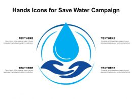 Hands Icons For Save Water Campaign