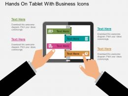 Hands On Tablet With Business Icons Flat Powerpoint Design