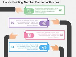 Hands Pointing Number Banner With Icons Flat Powerpoint Design