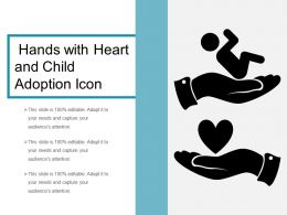 Hands With Heart And Child Adoption Icon