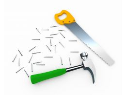 Handsaw Hammer And Nails For Service Stock Photo