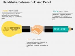Handshake Between Bulb And Pencil Flat Powerpoint Design