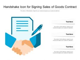 Handshake Icon For Signing Sales Of Goods Contract