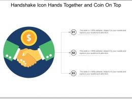 Handshake Icon Hands Together And Coin On Top
