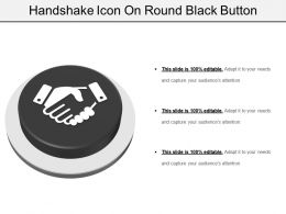 Handshake Icon On Round Black Button