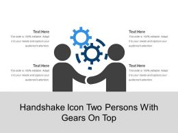 Handshake Icon Two Persons With Gears On Top