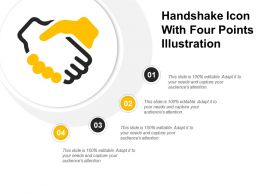 Handshake Icon With Four Points Illustration
