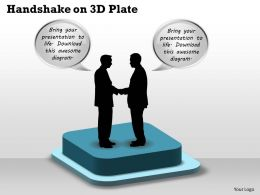 Handshake On 3d Plate Powerpoint Template Slide