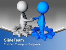 Handshake On Gears Industrial PowerPoint Templates PPT Themes And Graphics 0213