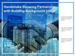 Handshake Showing Partnership With Building Background Image