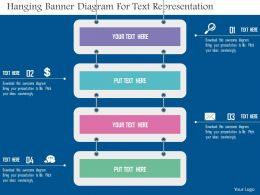 Hanging Banner Diagram For Text Representation Flat Powerpoint Design