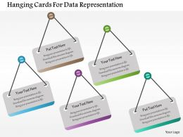 Hanging Cards For Data Representation Flat Powerpoint Design