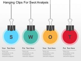 hanging_clips_for_swot_analysis_flat_powerpoint_design_Slide01