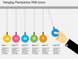 Hanging Pendulums With Icons Flat Powerpoint Design
