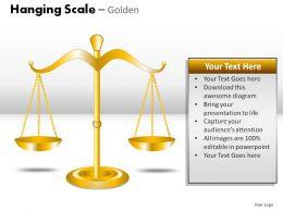 Hanging Scale Golden Powerpoint Presentation Slides