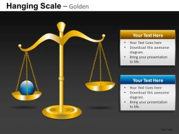 Hanging Scale Golden Powerpoint Presentation Slides DB