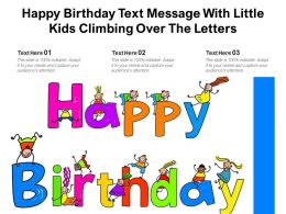 Happy Birthday Text Message With Little Kids Climbing Over The Letters