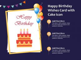 Happy Birthday Wishes Card With Cake Icon
