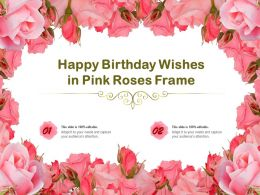 Happy Birthday Wishes In Pink Roses Frame