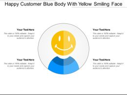 Happy Customer Blue Body With Yellow Smiling Face