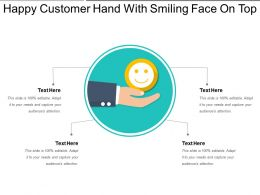 Happy Customer Hand With Smiling Face On Top