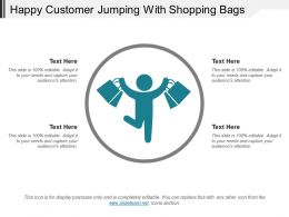 Happy Customer Jumping With Shopping Bags