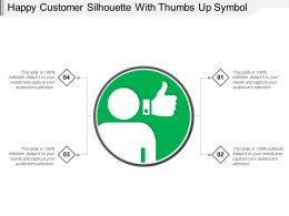 Happy Customer Silhouette With Thumbs Up Symbol