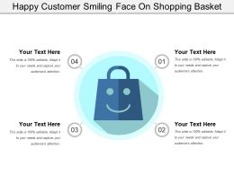 Happy Customer Smiling Face On Shopping Basket